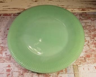 Fire King, Anchor Hocking, Jadeite, jadite, dinner plate, Jane Ray 9 1/8 inch plate, green milk glass, vintage made in the USA 1940's