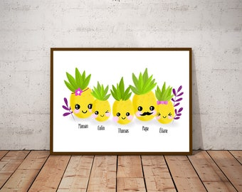 """My family - pineapple"" illustration"