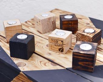Photophore en bois massif, cube de bois pour bougie - wooden tea light holder -