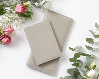 New! Personalised Grey Slimline Leather Travel Wallet