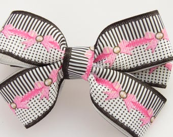 Left handed hair bow with pink bows on it / left handed hair bow / striped hair bows/ black and white hair bows / hair bows