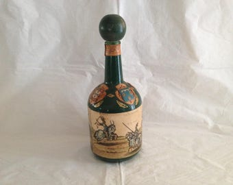 Vintage Italian Leather Covered Wine Bottle