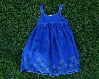 Vintage 80's girls denim dress ages 4-6