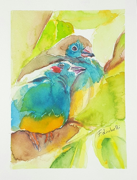 Lilltle birds, A5 giclée fine art print of original artwork, watercolor on paper, gift idea for babies, home office decoration, baby shower.