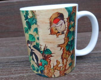 Mugs, personalised, printed with my original artwork, spotted woodpecker, British bird lover, gift for her.