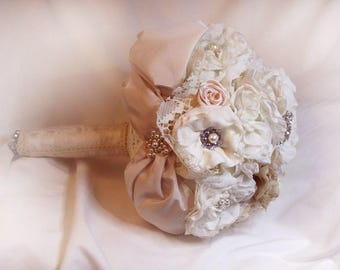 Bouquet of much of personalized brooch Bouquet, shabby chic Lace fabric bouquet, bouquet of bouquet, Bridal Bouquet shabby chic Pink