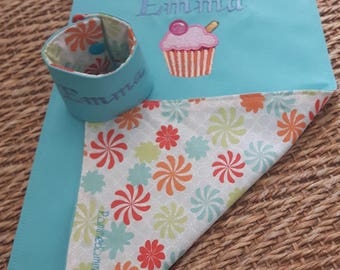 elastic napkin child large model reversible personalized bib and matching the napkin ring