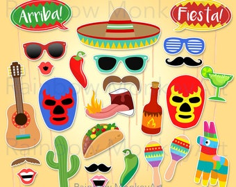 Printable Mexican Party Photo Booth Props - Mexican Fiesta Party Photobooth Props - Mexico Party Printable Props - Fiesta Party Props