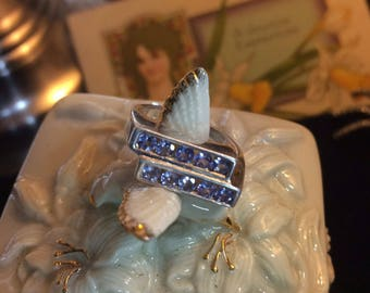 SALE  85. From 100. Tanzanite and Sterling Size 8 Gemstone Ring