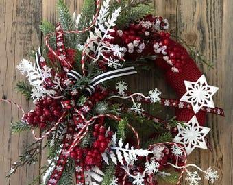 Primitive Handmade Red Burlap Wreath with Snowflakes  FAAP