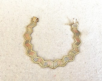 Vintage 80s Tri Color 14k Gold Bracelet in Rose Gold White Gold and Yellow Gold Chevron Pattern