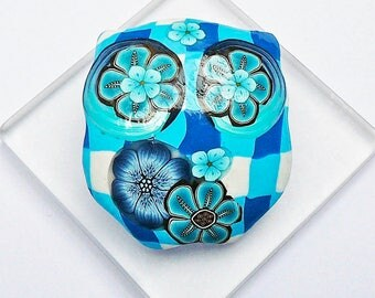 Brooch owl vichy blue in polymer clay