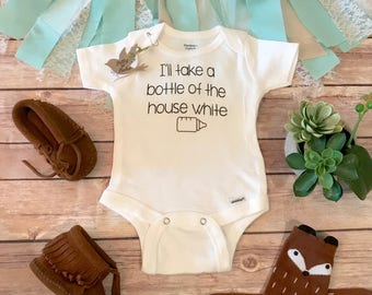 Wine Baby Onesie®, I'll Take a Bottle of the House White Baby Onesie®, Cute Baby Clothes, Unisex Baby Clothes, Baby Romper, Baby Bodysuit