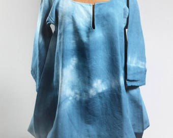 ENJOY SALES Dress in French century-old hemp - Tie & Dye - early twentieth - Made in France - indigo blue size 40/42 - CH160496