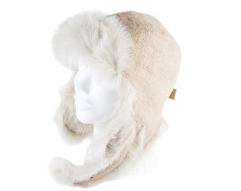 "Upcycling Aviator hat ""Café Doppio"" (winter hat from coffee sack) subject: plain (size: M)"