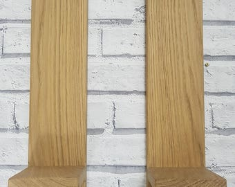 Solid oak and aluminium wall mounted candle holder / sconse