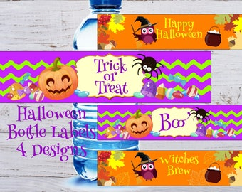Halloween Water Bottle Labels Halloween Bottle Labels Halloween Water Bottle Stickers Halloween Party Decor Halloween Labels Printable Party