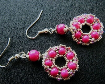 Beaded earrings, Fuchsia, silver