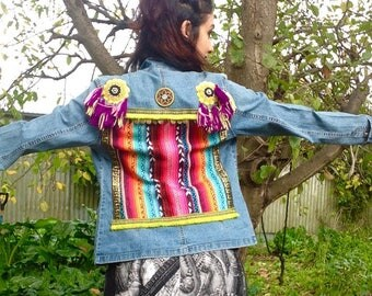 Funky gypsy styled Upcycled & embellished denim jacket