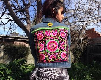 Upcycled & Boho embellished denim jacket.