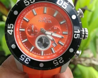 Invicta Men's 50mm Orange Pro Diver Quartz Chronograph Silicone Strap Watch #61
