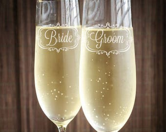 Bride and Groom Engraved 5.75 oz Stem Toasting Flutes - NOT PERSONALIZED - JM8426241-09189