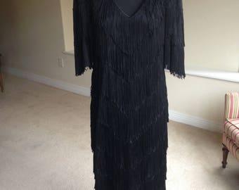 Black Flapper Fringe Dress 1970 1980