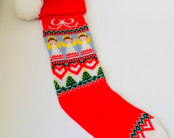 """Vintage 19"""" Machine knitted Christmas Stocking With Angels/Vintage Christmas Stocking/Vintage Christmas/Christmas Stocking/Angel Stocking"""