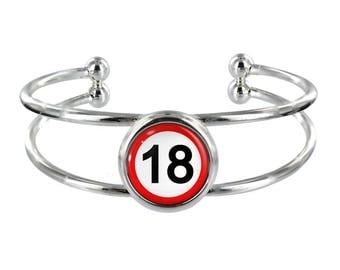 18mph Sign On Silver Plated Bangle in Organza Gift Bag