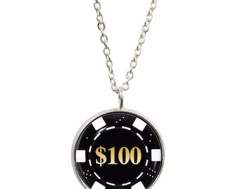 Poker Chip Design Pendant and Silver Plated Necklace