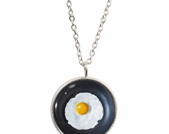 Egg pendant etsy fried egg pendant and silver plated necklace mozeypictures Gallery
