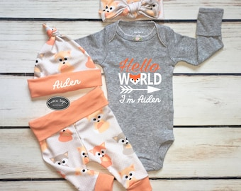 Gender Neautral Coming Home Outfit, Baby Fox Print, Melon Cuffs, Leggings, Hat and Headband, Gray Bodysuit, Hospital Set, Hello World