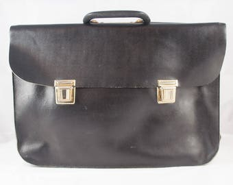 Vintage Tan Black Leather Briefcase, Backpack - School Bag – Work Bag - Laptop Bag