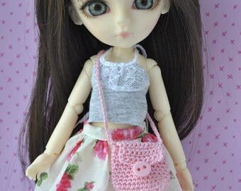 Handmade Outfit-top,skirt and bag for Hujoo Doll,Blythe & Pullip Doll
