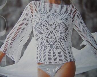 beautiful crocheted white cotton sweater