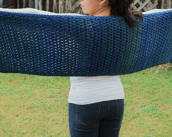 Hand knit multi colored blue wrap with fringe