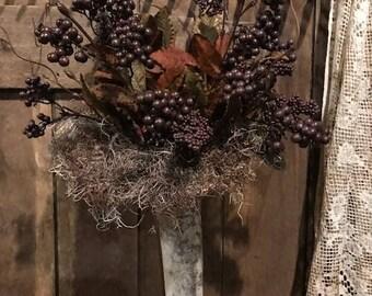 Primitive Gourd Vase Fall Wreath Arrangement Peg Hanger