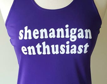 Size small, READY TO SHIP sample - Shenanigan Enthusiast - funny glitter wicking running tank