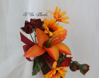 Orange and Red Corsage, Lily, Daisy and Rose Shoulder Corsage, Wedding Corsage, Orange Lily and Red Rose Wrist Corsage, Fall Corsage