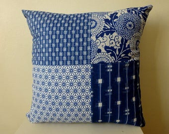 Japanese vintage style cushion cover - Navy, Indigo old style japanese motifs print cotton 45 cm, 18 inches [2]
