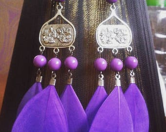 SALE Purple feather earrings