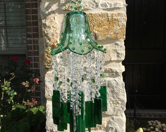 Green Bliss, Windchime, glass wind chime, chime, sun catcher, garden art, gift for anyone, house warming,stained glass, patio jewelry, chime