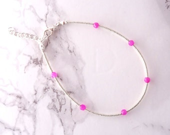 Silver pink beaded anklet, minimalist anklet bracelet, bohemian anklet, thin anklet, dainty delicate foot jewelry, layering bracelet