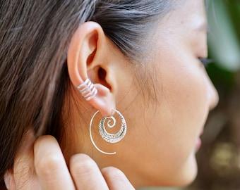 Tribal Ear Hoops, Sterling Silver Hoops, Spiral Hoops, Piercing Hoops, Ethnic Silver Accessories, Unique Earrings, Gift Ideas (SES68)