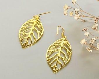 Gold Leaf Earrings, Sterling Silver Earrings, Dangle Earrings, Bohemian Jewelry, Funky Earrings, Gift Earrings, (E202)