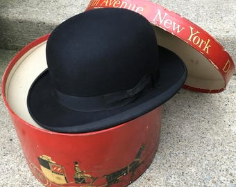 Early! Black Derby Bowler Hat Dobbs New York Joseph Hornes Pittsburgh Excellent Condition!