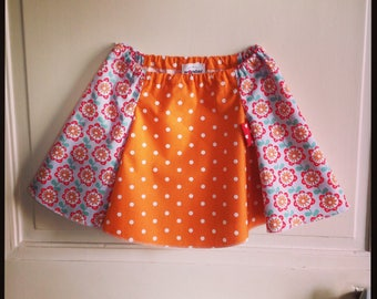 Orange Suzette - cotton skirt with white polka dots and seventies floral print
