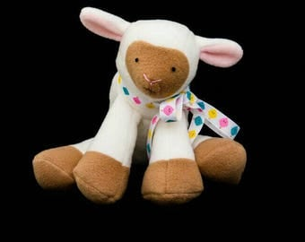 "Ready To Ship, Little Lamb Plush, Cuddly Lamb Toy, Baby Safe, 9"" Plush"