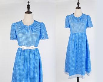 Vintage Dress, Upcycled Vintage Dress, Vintage Japanese Dress, White Polka Dot Short Sleeves Blue Women Dress Size S-M