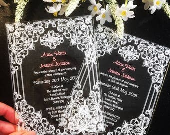 Vintage Lace Acrylic Printed Wedding Invitations Invites Pack of 10 Choice of Colour